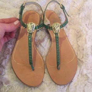 Dolce Vita green snakeskin sandals
